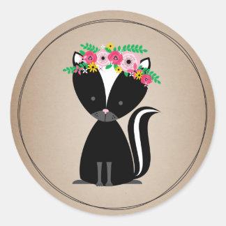Cardstock inspirerad baby shower för Boho Skunk Runt Klistermärke