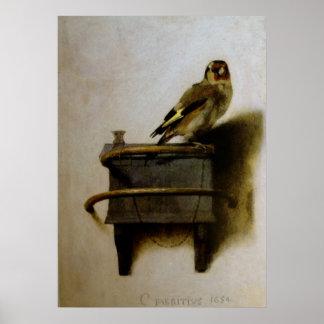 Carel Fabritius steglitsen Poster