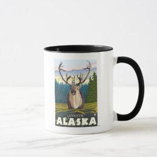 Caribou i vilden - Latouche, Alaska Mugg