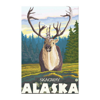 Caribou i vilden - Skagway, Alaska Canvastryck