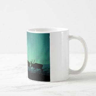 Caribou och nordligt ljus kaffemugg