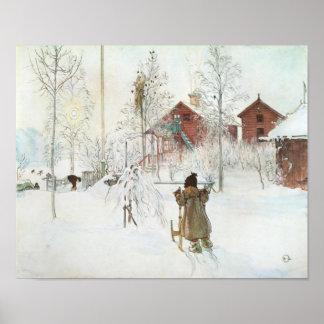 Carl Larsson - bekläda gården och tvättahuset Poster