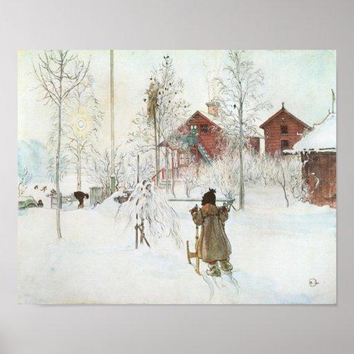Carl Larsson - bekläda gården och tvättahuset Affischer