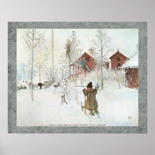 Carl Larsson - bekläda gården och tvättahuset Affisch