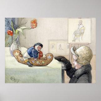 Carl Larsson den roliga affischen för kamrat 1917 Affisch