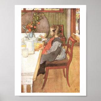"""""""Carl Larsson: En sen risers bedrövliga frukost """", Affisch"""