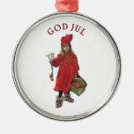 Carl Larsson gud Jul med Brita - god jul Rund Silverfärgad Julgransprydnad