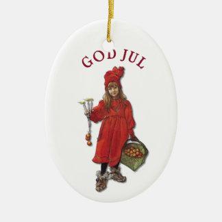 Carl Larsson gud Jul med Brita - god jul Ovalformad Julgransprydnad I Keramik