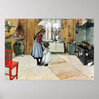 Carl Larsson i kökkonstaffischen Poster