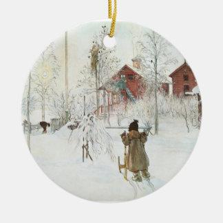 Carl Larsson jul i sverige Rund Julgransprydnad I Keramik
