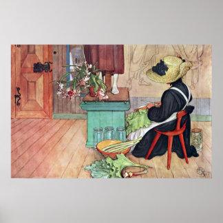 Carl Larsson Karin som skalar rabarberkonstaffisch Poster