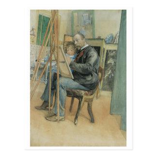 Carl Larsson målning med hans dotter Vykort
