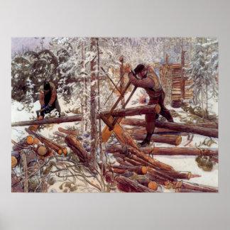 Carl Larsson skogshuggarear i skogen Affischer