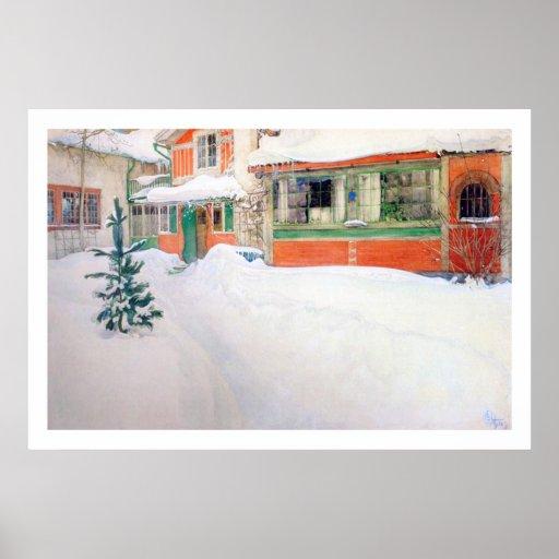 Carl Larsson stuga i snökonsttryck Print