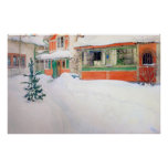 Carl Larsson stuga i tryck för snöaffischkonst