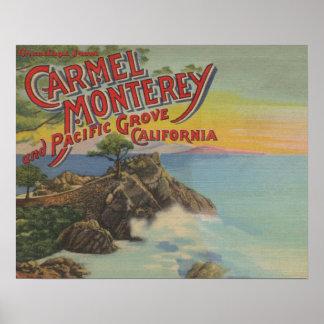 Carmel, Monterey & Stillahavs- dunge, CA - välkomn Poster