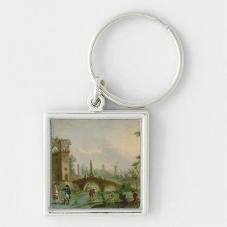 Carmontelle som ger nycklarna av Parcen Fyrkantig Silverfärgad Nyckelring