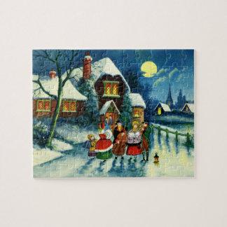 Carolers för helgdag för Town för julhelgdag Pussel