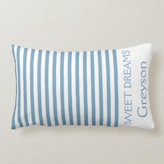 Carolina blått och vit görar randig personlig lumbarkudde