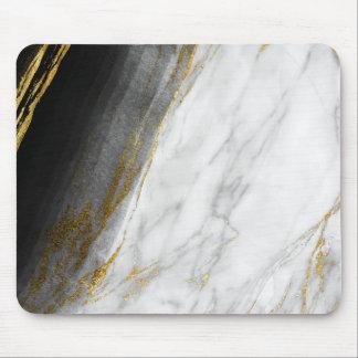 Carrara för svart vitabstraktgrått guld- marmor musmatta