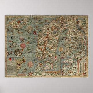 Carta Marina - forntida varelsekarta av världen Poster