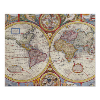 Cartography för karta för gammal värld för vintage poster