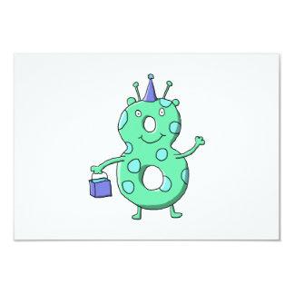Cartoon. för födelsedag för krickagrönt 8th 8,9 x 12,7 cm inbjudningskort