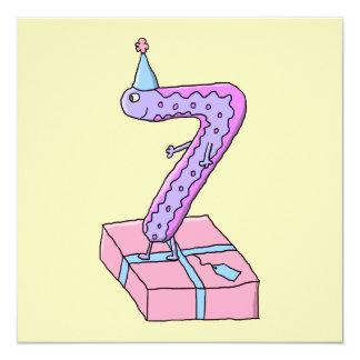 Cartoon. för för 7:efödelsedagrosor och lilor fyrkantigt 13,3 cm inbjudningskort
