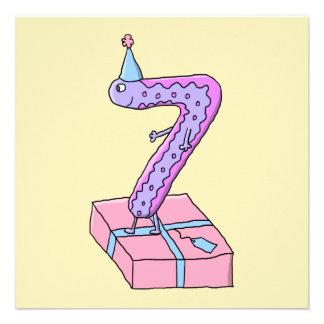 Cartoon för för 7 efödelsedagrosor och lilor skräddarsydda inbjudan