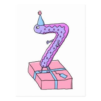 Cartoon. för för 7:efödelsedagrosor och lilor vykort