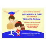 Cartwheels- och muffinsgymnastikfödelsedagsfest personliga tillkännagivande