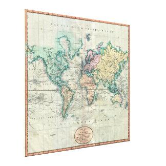 Cary karta 1801 av världen på Mercator projektion Canvastryck