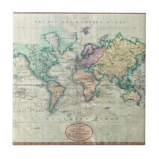 Cary karta 1801 av världen på Mercator projektion Kakelplatta
