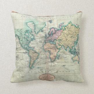 Cary karta 1801 av världen på Mercator projektion Kudde