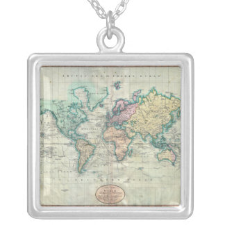 Cary karta 1801 av världen på Mercator projektion Silverpläterat Halsband