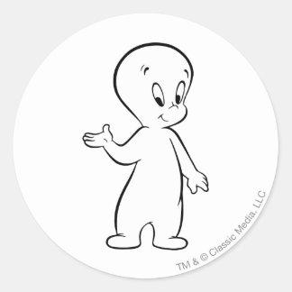 Casper anseende runt klistermärke