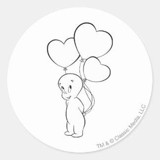 Casper hjärtaballonger runt klistermärke