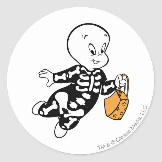 Casper i skelett- dräkt runt klistermärke