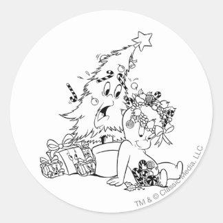 Casper julgran runt klistermärke