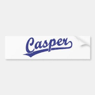 Casper skrivar logotypen i blått bildekal