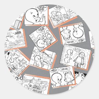 Casper tecknader runt klistermärke