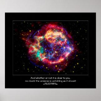 Cassiopeia mest ung Supernova för Milky väg Poster