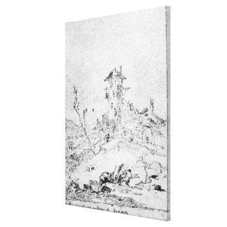 Castel Cogolo per Andar en Trento (skriva & bläck  Canvastryck