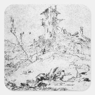 Castel Cogolo per Andar en Trento (skriva & bläck Fyrkantigt Klistermärke