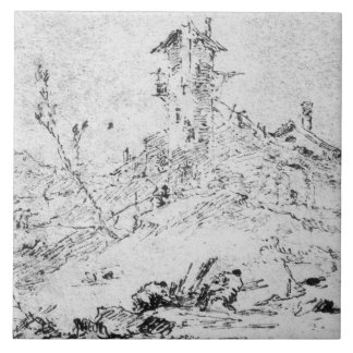 Castel Cogolo per Andar en Trento (skriva & bläck  Kakelplatta