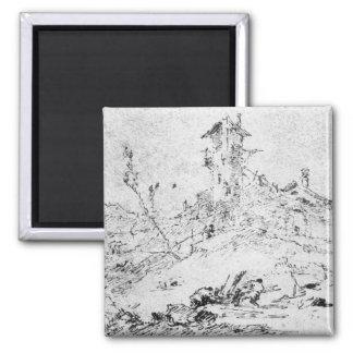 Castel Cogolo per Andar en Trento (skriva & bläck  Magnet