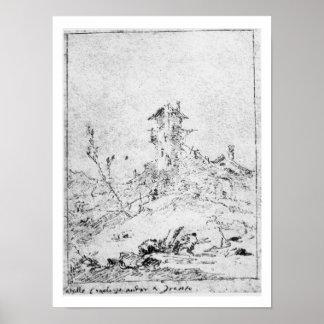 Castel Cogolo per Andar en Trento (skriva & bläck  Poster