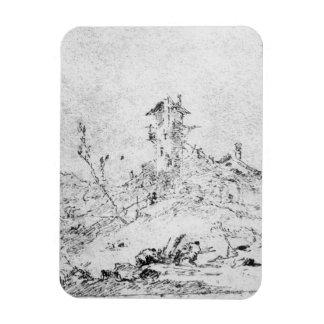 Castel Cogolo per Andar en Trento (skriva & bläck  Rektangulära Magneter