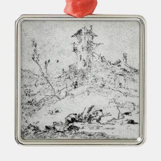Castel Cogolo per Andar en Trento (skriva & bläck Silverfärgad Fyrkantigt Julgransprydnad