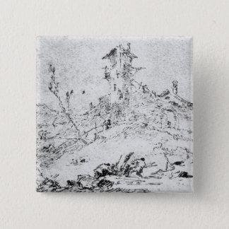Castel Cogolo per Andar en Trento (skriva & bläck  Standard Kanpp Fyrkantig 5.1 Cm